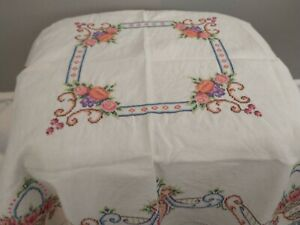 Vintage Embroidered Cross Stitch Cotton Tablecloth Table Topper