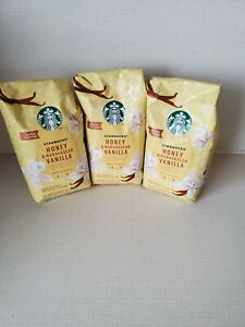 Lot Of 3 New Sealed Starbucks Honey & Madagascar Vanilla Ground Coffee 11oz Each