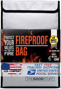 2000℉ Fireproof Waterproof Legal Document Money Safe Bag Cash Passport Documents