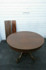 Early 1900s Tiger Oak Claw Feet Dining Table with Three Leaves 1084