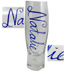Personalised Champagne Flute Glass with crystals from Swarovski 10 Variations