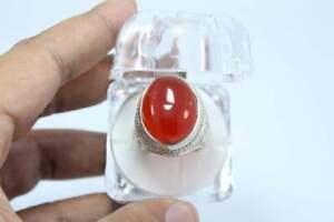 Blood Red Yamani Aqeeq Agate Akik Ring Mens Aqeeq Ring in 925 Silver Engraved