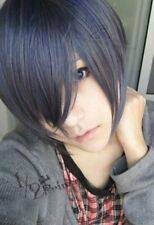 Black Butler Ciel Kuroshitsuji Phantomhive Short Cosplay costume Wig mixed color