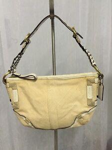 Coach L053-4071 Women's Handbag Angora Beige Straw Leather Trim Braided Handbag