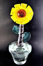 RARE KOSTA BODA SWEDEN ART GLASS SUNFLOWER SCULPTURE PAPERWEIGHT STATUE  (LE)
