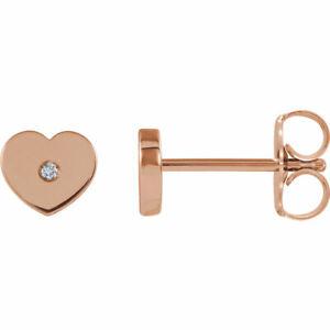 Diamond Heart Youth Earrings In 14K Rose Gold