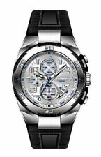 NEW K & BROS 9479-2 Mens Steel Man S/S With Pu Band Chrono Watch Silicone Band