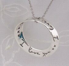 I Love You Twisted Ring Pendant Necklace 925 Sterling Silver New
