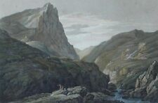 Aft.JOSEPH FARINGTON (1747-1821) ANTIQUE PRNT WTH COLOUR HONISTER CRAG c1900