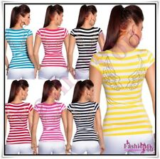 Women's Top Striped Angel Wings Casual Tank Ladies T-Shirt One Size 8,10,12,14