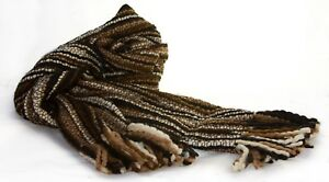 Winter Striped Thick Extra Long Luxurious Large Scarf, Soft Wool, Hand-Woven
