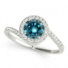 0.75 Ct Fancy Color Blue Diamond SI Halo Engagement Ring Stunning 14k White Gold