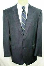 44L Jos. A. Bank Navy Blue Striped 100% Wool Mens Single Vent Suit 38 FE0