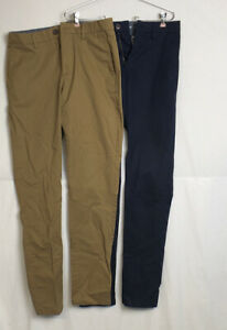 Lot of 2 Pair of Mens OLD NAVY Ultimate Skinny Chino Pants Size 29 x 34 EUC