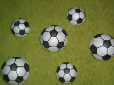 6 Fußbälle Deko Schultüte handmade 3 oder 4 cm (Halbkugeln) zum Basteln Styropor