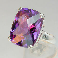 49 TCW Cushion CKB cut Russian Alexandrite stone, Sterling Silver Ring size 7