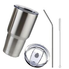 Stainless Steel Tumbler Cup with Lid Straw 30 Oz Double Wall Vacuum Flask IG9Y9