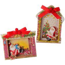 "Raz Imports~5.5"" Vintage Christmas Santa Shadow Box Christmas Ornament~Set of 2"