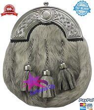 Highland Kilt Escarcelle Gris Bovine Cantle Celtique/Sporran Cuir écossais Kilts