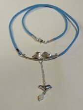 SILVER PLATED BIRD PENDANT WITH BLUE SUEDE NECKLACE - FREE UK P&P.....CG1422