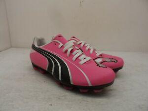 Puma Girl's Low Attencio II FG Jr Soccer Cleats Pink/Blue/Silver Size 3Y