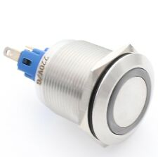 22mm AC220V Green LED Latching Stainless Steel Push Button Switch 1NO 1NC IP67