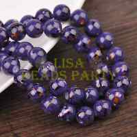Hot 30pcs 8mm Round Charms Loose Glass Spacer Beads Deep Purple Colorized Dots