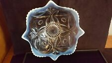 Antique DUGAN White Opalescent Dish Wheel & Block Pattern Circa 1905 NICE PIECE