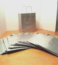 Lot of 20 Silver Paper Gift Bags 10x8x5 Wedding Baby Shower Raffle Holiday Party