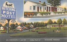 HITCHING POST MOTEL Roanoke, Virginia Roadside ca 1940s Vintage Linen Postcard