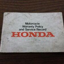 Honda Motorcycle Warranty & Service Record Manual 1975