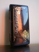 BOITE ETUI ANCIEN 19°s DECOR INCRUSTATION FILETS DORE ET ARGENTE DECO MODE