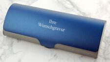 BRILLENETUI, Metall-Brillenbox - blau-grau - mit Ihrer WUNSCHGRAVUR