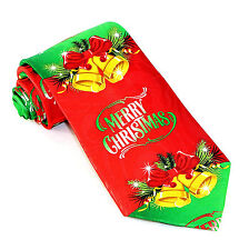 Merry Christmas Bells Mens Neck Tie Xmas Holiday Necktie Red & Green Gift New