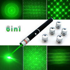 6 in 1 Green Powerful Laser Pointer Pen Beam Light 1mW High Power 532nm Lazer