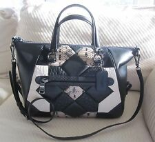 NWT Coach Gorgeous Canyon Quilt Exotic Primrose Satchel- Dk/ Black/Chalk-$475