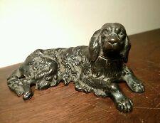 Rare Antique Victorian Reclining Dog Cast Iron Spaniel Retriever Lab Sculpture