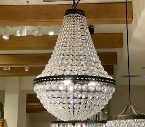 Pottery Barn Mia Faceted-Crystal Pendant Light Fixture Chandelier Large