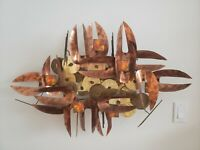 Large Mid Century Abstract Brutalist Metal Wall Sculpture Torch Art Copper VTG