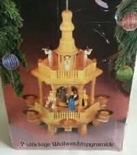 Vintage German Stockige Weihnachtspyramide Candle Two Tier NatIvity Carousel