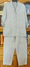 CHICO'S Design Women's 2/3 12/14 Khaki Tan Linen Jacket/Blazer & Pants Suit Set