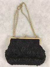 Vintage Black Beaded Purse Handbag Handmade Collectible Gift