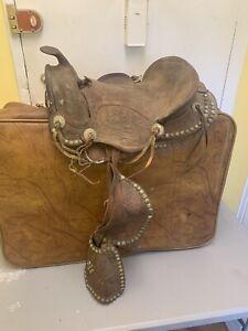 Vintage Leather Pony saddle. Antique Western Style Saddle With Silver Studs Used