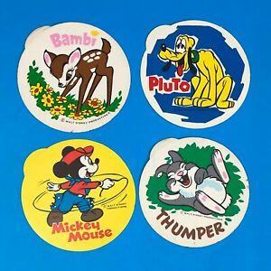 Lot of 4 Vintage 70s Disney Stickers Medowlea Brand Confectionary Grocery GWP