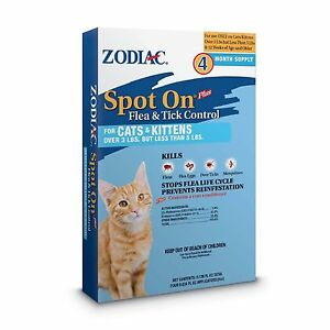 Zodiac Spot on Flea Control For Cats/Kittens Over 3 lbs but under 5 lbs 4 month