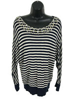 INC International Concepts Rayon Sweater Womens XL Blue Gray Striped Embellished