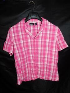 Erika L Pink White Plaid Shirt Short Sleeve Seersucker Cotton V Neck Button Lg