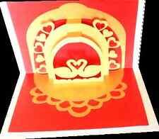 3D Pop Up Swan Love Anniversary Greeting Card Handmade Gift Best Husband Wife