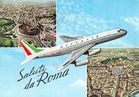 Cartolina Roma saluti da 3 vedute Aereo Alitalia 1961