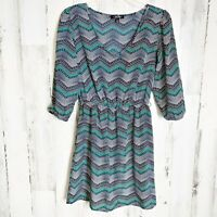 Bebop Size Small V-Neck Dress 3/4 Sleeves Elastic Waist Chevron Print Casual